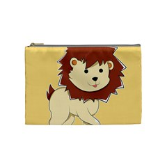Happy Cartoon Baby Lion Cosmetic Bag (medium)  by Catifornia
