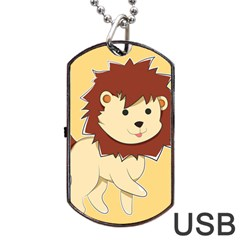 Happy Cartoon Baby Lion Dog Tag Usb Flash (one Side) by Catifornia