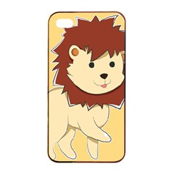 Happy Cartoon Baby Lion Apple Iphone 4/4s Seamless Case (black) by Catifornia