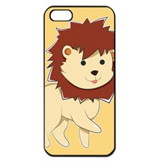 Happy Cartoon Baby Lion Apple Iphone 5 Seamless Case (black) by Catifornia