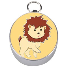 Happy Cartoon Baby Lion Silver Compasses by Catifornia