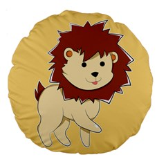 Happy Cartoon Baby Lion Large 18  Premium Flano Round Cushions by Catifornia