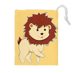 Happy Cartoon Baby Lion Drawstring Pouches (extra Large) by Catifornia