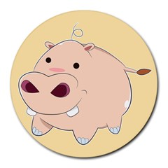 Happy Cartoon Baby Hippo Round Mousepads by Catifornia