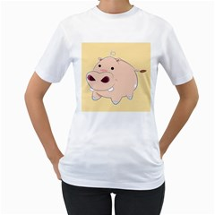 Happy Cartoon Baby Hippo Women s T Shirt (white) (two Sided) by Catifornia