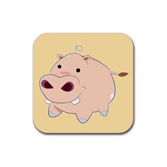 Happy Cartoon Baby Hippo Rubber Square Coaster (4 Pack)  by Catifornia