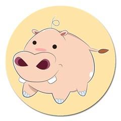 Happy Cartoon Baby Hippo Magnet 5  (round) by Catifornia