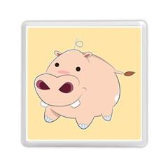 Happy Cartoon Baby Hippo Memory Card Reader (square)  by Catifornia