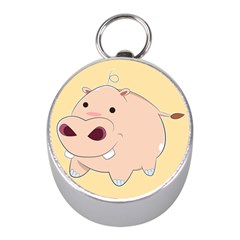 Happy Cartoon Baby Hippo Mini Silver Compasses by Catifornia