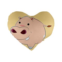 Happy Cartoon Baby Hippo Standard 16  Premium Flano Heart Shape Cushions by Catifornia