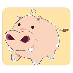 Happy Cartoon Baby Hippo Double Sided Flano Blanket (small)  by Catifornia