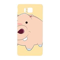 Happy Cartoon Baby Hippo Samsung Galaxy Alpha Hardshell Back Case by Catifornia