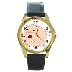 Happy Cartoon Baby Hippo Round Gold Metal Watch by Catifornia
