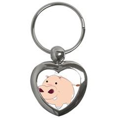 Happy Cartoon Baby Hippo Key Chains (heart)  by Catifornia