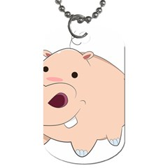 Happy Cartoon Baby Hippo Dog Tag (one Side) by Catifornia