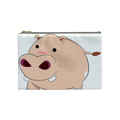 Happy Cartoon Baby Hippo Cosmetic Bag (medium)  by Catifornia