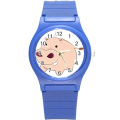 Happy Cartoon Baby Hippo Round Plastic Sport Watch (s) by Catifornia