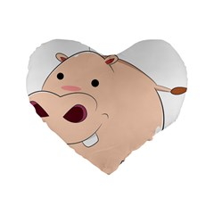 Happy Cartoon Baby Hippo Standard 16  Premium Heart Shape Cushions by Catifornia