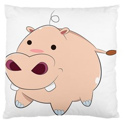 Happy Cartoon Baby Hippo Large Flano Cushion Case (one Side) by Catifornia