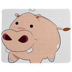 Happy Cartoon Baby Hippo Jigsaw Puzzle Photo Stand (rectangular) by Catifornia