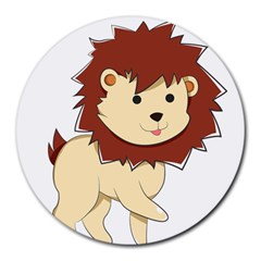 Happy Cartoon Baby Lion Round Mousepads by Catifornia