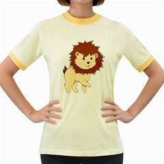 Happy Cartoon Baby Lion Women s Fitted Ringer T Shirts by Catifornia