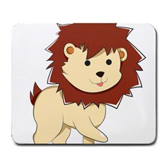 Happy Cartoon Baby Lion Large Mousepads by Catifornia
