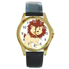 Happy Cartoon Baby Lion Round Gold Metal Watch by Catifornia