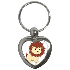Happy Cartoon Baby Lion Key Chains (heart)  by Catifornia