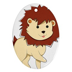 Happy Cartoon Baby Lion Oval Ornament (two Sides) by Catifornia