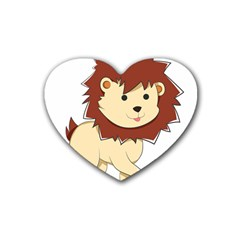 Happy Cartoon Baby Lion Rubber Coaster (heart)  by Catifornia