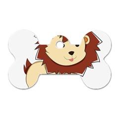 Happy Cartoon Baby Lion Dog Tag Bone (two Sides) by Catifornia