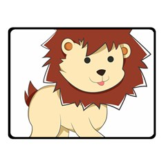 Happy Cartoon Baby Lion Fleece Blanket (small) by Catifornia