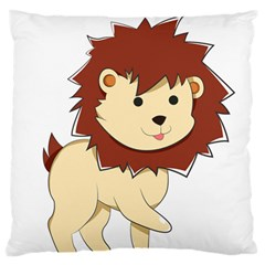 Happy Cartoon Baby Lion Large Flano Cushion Case (one Side) by Catifornia