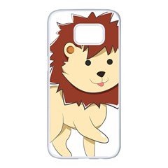 Happy Cartoon Baby Lion Samsung Galaxy S7 Edge White Seamless Case by Catifornia