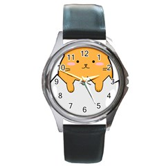 Yellow Cat Egg Round Metal Watch by Catifornia