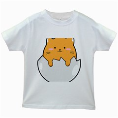 Yellow Cat Egg Kids White T Shirts by Catifornia