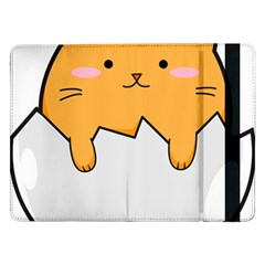 Yellow Cat Egg Samsung Galaxy Tab Pro 12 2  Flip Case by Catifornia