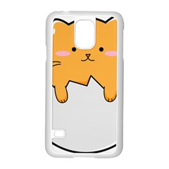 Yellow Cat Egg Samsung Galaxy S5 Case (white) by Catifornia