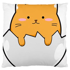 Yellow Cat Egg Large Flano Cushion Case (one Side) by Catifornia