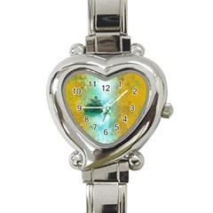 Turquoise River Heart Italian Charm Watch by theunrulyartist