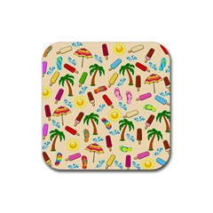 Beach Pattern Rubber Coaster (square)  by Valentinaart