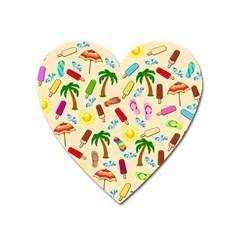 Beach Pattern Heart Magnet by Valentinaart