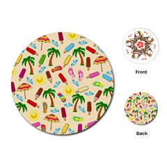 Beach Pattern Playing Cards (round)  by Valentinaart