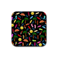 Beach Pattern Rubber Square Coaster (4 Pack)  by Valentinaart