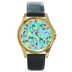 Beach Pattern Round Gold Metal Watch by Valentinaart