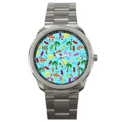 Beach Pattern Sport Metal Watch by Valentinaart