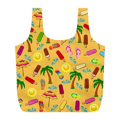 Beach Pattern Full Print Recycle Bags (l)  by Valentinaart