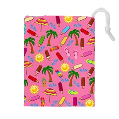 Beach Pattern Drawstring Pouches (extra Large) by Valentinaart