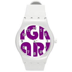 Migraine Warrior With Ribbon Round Plastic Sport Watch (m) by MigraineursHideout